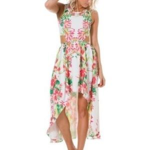 Lovers + Friends NWT floral high low cutout dress